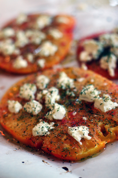 Baked Heirloom Tomatoes with Goat Cheese